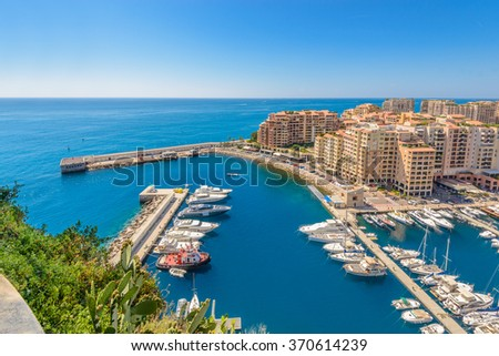 Luxury yachts in the bay of Monaco, France - stock photo
