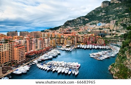 Luxury yachts in the harbor of Monaco - stock photo