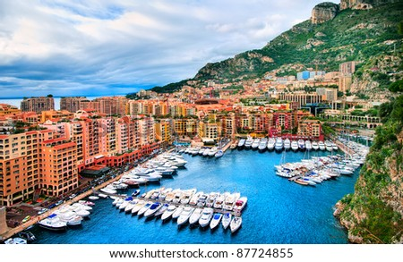 Luxury yachts in the harbour of Monaco - stock photo