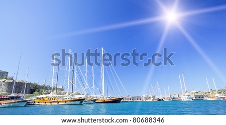 Luxury yachts on Bodrum' harbor (Turkey). - stock photo