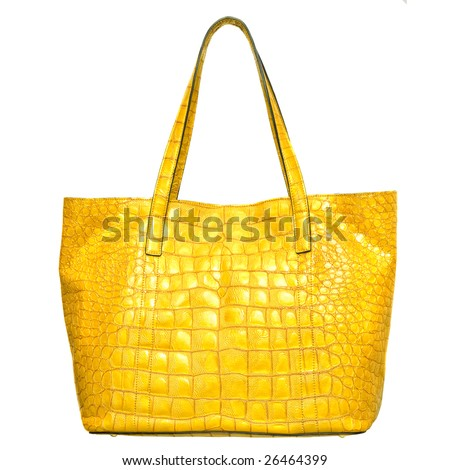luxury yellow leather female bag isolated on white - stock photo