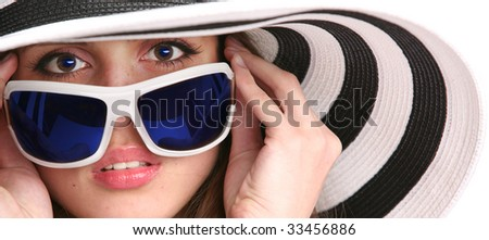 luxury young woman with sunglasses - stock photo