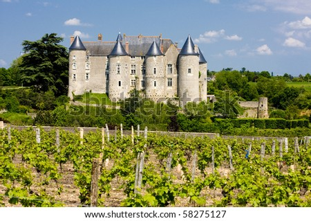 Luynes Castle with vineyard, Indre-et-Loire, Centre, France - stock photo