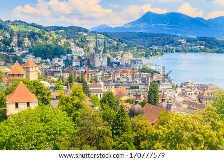 Luzern City View from city walls with lake, Switzerland - stock photo