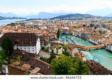 Luzern City View from city walls with river Reuss, Switzerland - stock photo