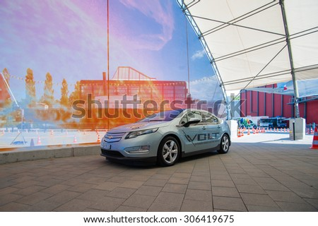 LUZERN/SWITZERLAND - MAY 29, 2012; The Chevrolet Volt electric car. - stock photo