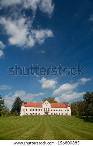 Luznica baroque manor located just 20 kilometers west of Zagreb, the capital of Croatia. - stock photo
