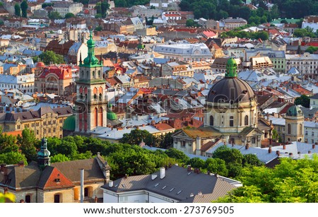 Lviv City in the evening. Central part of the old city of Lvov. Ukraine - stock photo