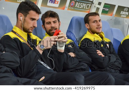 LVIV, UKRAINE - APR 28: Sevilla FC bench with the players during the semi finals UEFA Europa League match between Shakhtar vs FC Sevilla (Spain), 28 April 2016, Arena Lviv, Ukraine