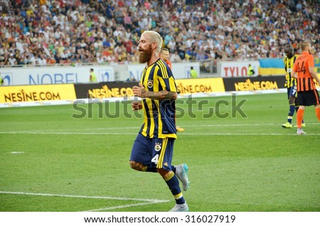 LVIV, UKRAINE - AUG 5: Raul Meireles in action during the UEFA Champions League match between Shakhtar vs Fenerbahce, 5 August 2015, Arena Lviv, Lviv, Ukraine