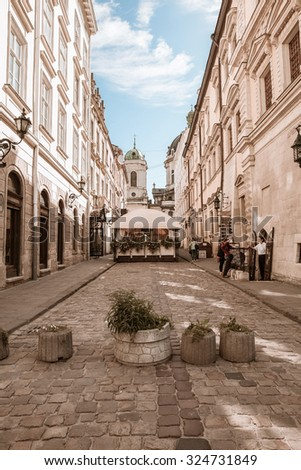 LVIV/UKRAINE - 1 AUGUST  2015: urban landscape, street of the historic Lviv center. 1 august 2015 Lviv.