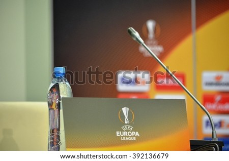 LVIV, UKRAINE - FEB 18: At a press conference a sign with the logo and emblem of the UEFA Europa League before the UEFA Europa League match between Shakhtar vs Schalke 04, 18 February 2016, Ukraine
