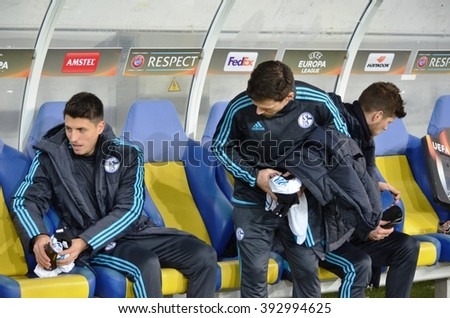 LVIV, UKRAINE - FEB 18: Klaas-Jan Huntelaar on the bench during the UEFA Europa League match between Shakhtar vs Schalke 04 (Germany), 18 February 2016, Arena Lviv, Ukraine