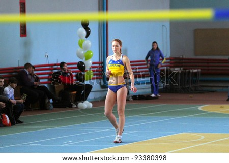 LVIV,UKRAINE-JAN.20:Biruk Tamara wins the high jump competition with her personal best result 1.89 on the International Memorial Demyanyuk track and field meeting, on January 20, 2012 in Lviv, Ukraine