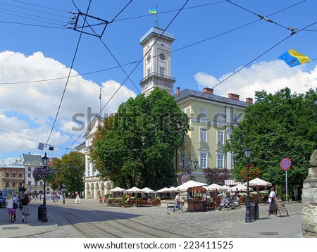 LVIV, UKRAINE - JULY 10, 2010: Lviv City Hall on the Rynok Square. The building of City Hall was built in 1827-1835 by project of architects Y. Markle, F. Thresher (or Treter), A. Vondrashek.