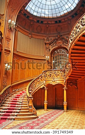 """LVIV, UKRAINE - 30 JUNE, 2014: House of Scientists - a former national casino (until 1939) built by """"Fellner and Helmer"""" in the years 1897-1898, Lviv, Ukraine - stock photo"""