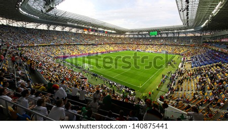 LVIV, UKRAINE - JUNE 9: Tribunes of Arena Lviv stadium during UEFA EURO 2012 game between Germany and Portugal on June 9, 2012 in Lviv, Ukraine - stock photo