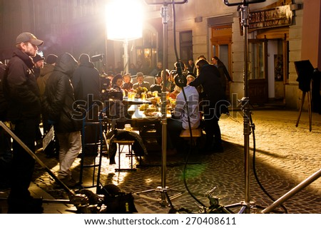 LVIV, UKRAINE - MARCH 23: Shooting a video for the advertising of Lvov beer 1715. March 23, 2015 in Lviv. - stock photo