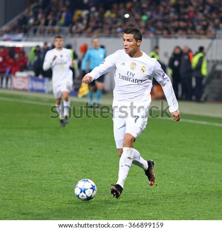 LVIV, UKRAINE - NOVEMBER 25, 2015: Cristiano Ronaldo of Real Madrid in action during UEFA Champions League game against FC Shakhtar Donetsk at Arena Lviv stadium - stock photo