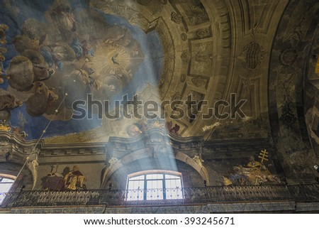 LVIV, UKRAINE -OCT 29, 2015: Ancient paintings on the ceiling ancient church of St. Michael the Archangel. Picture taken in the evening during a trip to Lviv.