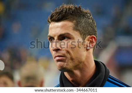 LVIV, UKRAINE - OCT 25: Cristiano Ronaldo close-up during the UEFA Champions League match between Shakhtar vs Real Madrid, 25 October 2015, Arena Lviv, Ukraine