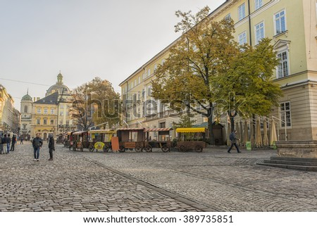 LVIV, UKRAINE - OCT 27, 2015: Morning Lviv. The Market Square, North side. The streets and houses of the old town. Picture taken in the morning during a trip to Lviv.