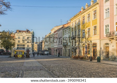 LVIV, UKRAINE - OCT 27, 2015: Morning Lviv.The Market Square. The streets and houses of the old town. Picture taken in the morning during a trip to Lviv.