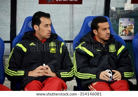 LVIV, UKRAINE - OCT 12: Sergio Busquets (L) and Pedro Rodriguez before the UEFA EURO 2016 qualifying match national team of Ukraine vs Spain, 12 October 2015, Olympic NSC, Kiev, Ukraine