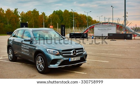 Lviv, Ukraine - OCTOBER 15, 2015: Mercedes Benz star experience. The interesting series of test drives new cars Mercedes Benz glc 250 d 4matic - stock photo