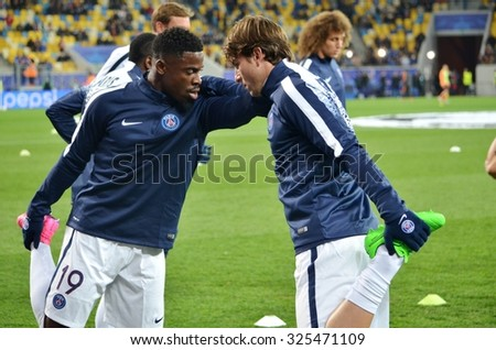 LVIV, UKRAINE - SEP 30: Serge Aurier (L) and Maxwell (R) in action before the UEFA Champions League match between Shakhtar vs PSG, 30 September 2015, Arena Lviv, Lviv, Ukraine