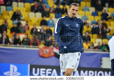 LVIV, UKRAINE - SEP 30: Zlatan Ibrahimovic training before the UEFA Champions League match between Shakhtar vs PSG (Paris Saint-Germain), 30 September 2015, Arena Lviv, Ukraine