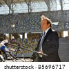 LVIV, UKRAINE - SEPTEMBER 26: UEFA President Michel Platini speaks during a news conference on September 26, 2011 on stadium in Lviv,Ukraine. Platini has arrived  to inspect the building for EURO-2012 - stock photo