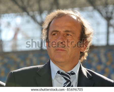 LVIV, UKRAINE - SEPTEMBER 26: UEFA President Michel Platini speaks during a news conference on September 26, 2011 on stadium in Lviv,Ukraine. Platini has arrived  to inspect the building for EURO-2012