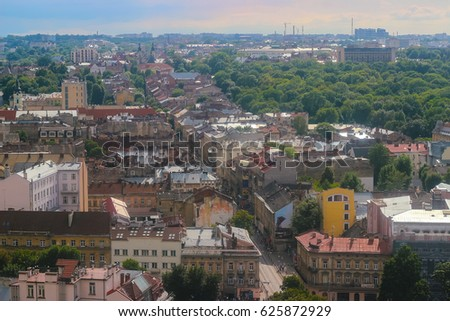 Lviv, Ukraine. View from City Hall in center. Old European city. Panorama