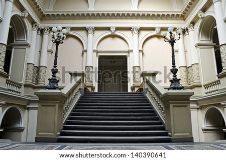 LVOV, UKRAINE - APRIL 30, 2013:  Lvov introduced in UNESCO World Heritage on April 30, 2013 in Lviv, Ukraine. In photo - grand staircase in the Ivan Franko National University in Lvov
