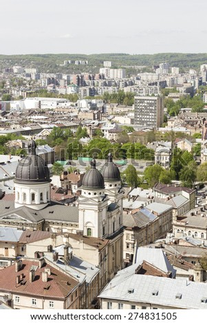 LVOV, UKRAINE - MAY 3, 2015: Lvov cityscape in spring