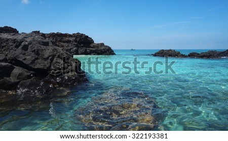 Ly son island in the blue sea - stock photo