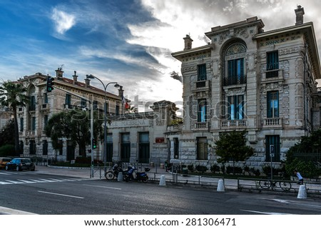 Lycee Massena, housed in a former convent of Augustinians, built in 1623. High School officially named Lycee Massena in 1963 in memory of Andre Massena (Marshal of France). Nice, French Riviera. - stock photo