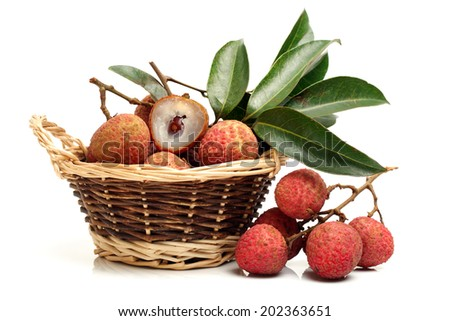 Lychee fruit. Fresh lychees fruit in isolated on white background