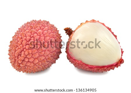 Lychee on a white background close-up - stock photo