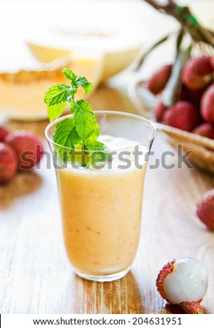 Lychee with Cantaloupe smoothie by fresh ingredients - stock photo