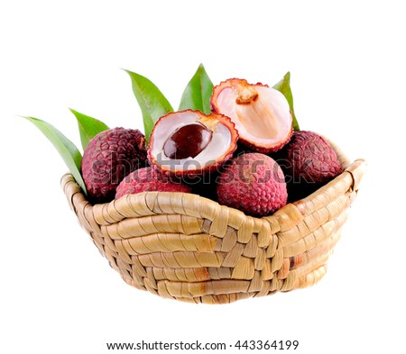 lychees in the basket on white background
