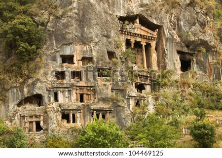 Lycian Rock Tombs outside Fethiye Turkey - stock photo