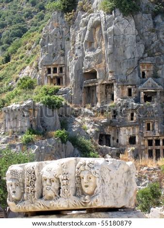 Lycian tombs in Demre, Turkey - stock photo