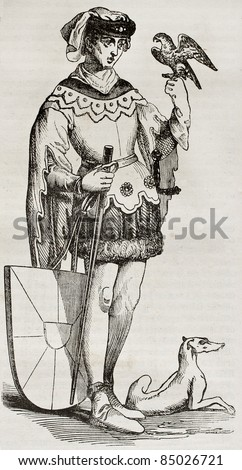 Lyderic old representation, legendary figure in Lille foundation, France. Created by Best and Leloir, published on Magasin Pittoresque, Paris, 1840 - stock photo