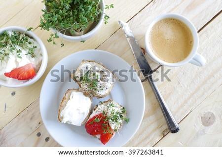 lye roll with cream cheese - stock photo