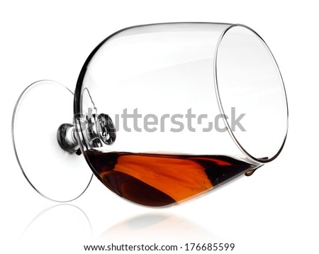 Lying brandy glass - stock photo