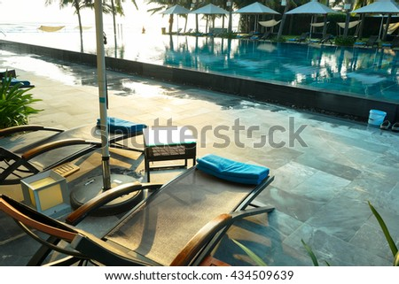 Lying chair by the pool