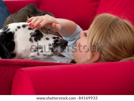 lying on red sofa young woman with dalmatian dog - stock photo
