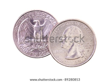 Lying one on another the American coins on twenty five cents (it is isolated on white, focus on the top coin) - stock photo